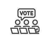 Online Voting line icon. Internet vote sign. Vector