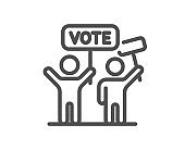 Voting campaign line icon. People rally with signs. Vector
