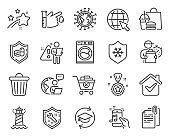 Line icons set. Included icon as Coronavirus, Document attachment, Remove purchase signs. Vector