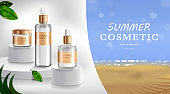 Advertising for sunscreen cream and spray. Cosmetic tube and realistic bottle at beach and sea. Branding and packaging design template. vector illustration
