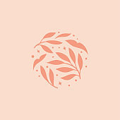 Vector floral elements design. Cute illustration with leaves. Modern template for social media, print, product, emblem.