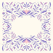 Modern vector art deco frame background. Abstract graphic illustration with floral elements. Trendy elegant poster with copy space.