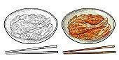 Korean food kimchi on plate with chopsticks. Vintage color vector engraving