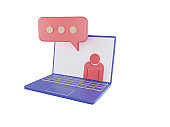 online education 3d icons. e-book, online lecture, curriculum, blue-pink laptop isolated on white background