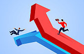 Success and failure, one businessman runs up following the red arrow and another businessman falls down the blue arrow