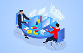 Isometric businessman working, business data analysis, business statistics expert team