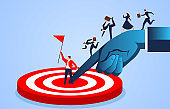 Big hand helping businessman reach the target point, business cooperation concept illustration