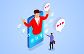 Isometric online communication, business financial consulting services, dialogue and communication
