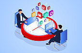 Isometric work time efficiency management concept, businessman planning and organizing working time, deadline, businessman busy working on clock