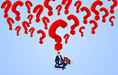 Businessman sitting cross-legged and thinking, question marks filled with businessman's brain