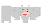 Party favor box hippo design for sweets, candies, small presents, bakery. Package template, great design for any purposes, birthdays, baby showers, halloween, christmas. Vector stock illustration