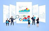 The business team observes and analyzes the data and charts on the page