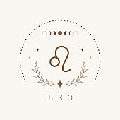 Leo. Zodiac sign in boho style. Astrological icon isolated on white background. Mystery and esoteric. Horoscope logo vector illustration. Spiritual tarot card