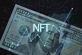 Concept cryptographic NFT. Blockchain network, cryptographic non-fungible tokens. NFT with a network and a growing schedule, search. New technologies, financial schedule, future concept, banknotes