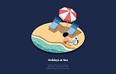 Holidays At Sea Illustration In Cartoon 3D Style. Vector Composition On Dark Background Of Child Sitting At Beach Near Water With Big Ball. Two Lounges And Umbrella Near Boy. Summer Travelling Concept