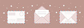 Set of different envelope. E-mail icon. Retro postcard and craft paper. Written letter or correspondence. Vector illustration in flat cartoon style.