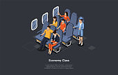 Vector Composition. Isometric Design, Cartoon 3D Style. Economy Class Aircraft Flight. Airplane Inside, Crew Member And Group Of Passengers Sitting. Writing And Dark Background. Infographic Objects