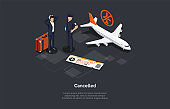 Vector Composition. Isometric Design, Cartoon 3D Style. Cancelled Flight Concept. Two Characters, Infographic Objects. Airplane, Shocked Passenger And Pilot Standing. Baggage, Ticket. Aircraft Ideas
