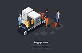 Vector Composition. Isometric Design, Cartoon 3D Style. Baggage Issue. Problems With Luggage Suitcases, Forbidden Items In Bags. Three Characters. Airport Control Worker, Checking Line, Customers