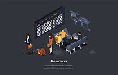 Vector Composition. Isometric Design, Cartoon 3D Style. Departures List Concept. Airport Inside Location. Group Of People With Baggage Waiting, Infographics. World Map, Airplane Flight Lobby Interior