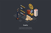 Composition With Character And Text. Isometric Vector Illustration, Cartoon 3D Style. Quality Rating Concept. Products Assessment. Cardboard Boxes, Gifts, Star Signs, Man And Infographic Items Around