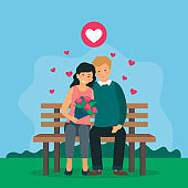 Couple Of Male And Female Characters Sit On Bench In Park. Loving Man And Woman With Flowers Spending Time Together Outside. Heart Icons Flying Around Them, Vector Cartoon Illustration, Flat Style