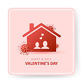 Valentines day 2021. Covid and Holidays. Couple stay at home. Social media sticker of self-isolation. Distancing measures to prevent virus spread. Vector icon covid19 for apps, banners or postcards