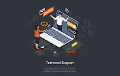 Isometric Illustration. Vector Cartoon 3D Style Design With Elements And People. Technical Support For Website, Application. Man Speaking Through Laptop Screen, Infographics Elements. Online Chat Help