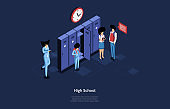 High School Vector Illustration In Cartoon 3D Style. Isometric Composition With Writings And Dark Background. Male And Female Student Characters With Backpacks And Books Near Items Cell, Clock Above