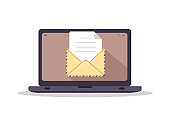 Envelope on computer screen. Concept of sending or receiving email. Retro postcard and kraft paper. Letters or correspondence. Vector illustration in flat cartoon style.