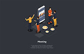 Composition With Characters And Text. Isometric Vector Illustration, Cartoon 3D Style. Meeting Concept. Group Of People Standing Together, Big Smart Phone With Graph On Screen. Business Discussion