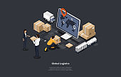 Isometric 3D Vector Illustration On Dark Background With Writing. Cartoon Composition, Global Logistics And Cargo Shipping Concept. Computer Monitor, Warehouse Items, Lorry, Cardboard Boxes And People