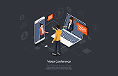 Isometric 3D Vector Illustration On Dark Background With Writing. Cartoon Composition, Video Conference, Online Meeting Concept. People Talk Through Smartphone And Laptop With Character. Infographics