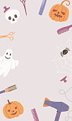 Halloween background with hairdressing tools, pumpkin, spider, skull, ghost and kopi space in the center. Vertical image with hair salon accessories for a festive poster, flyer, social media.