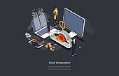 Illustration On Dark Background. Information Cloud Computation Concept. Isometric Vector Composition In Cartoon 3D Style With Objects And Text. Three Characters And Computers, Infographics Elements
