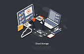 Illustration On Dark Background. Data Cloud Storage Concept. Isometric Vector Composition In Cartoon 3D Style With Objects And Text. People Near Computers And Infographics Items. Remote Info Server