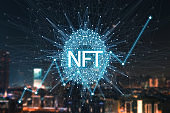 Concept cryptographic NFT. Blockchain network, cryptographic non-fungible tokens. NFT with a network and a growing schedule, search. New technologies, financial schedule, future concept