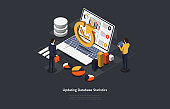 Illustration On Dark Background. Updating Database Statistics Concept. Isometric Vector Composition In Cartoon 3D Style With Objects And Text. People Near Laptop With Charts And Infographic Elements