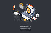 Illustration On Dark Background. Database Protection Concept. Isometric Vector Composition In Cartoon 3D Style With Objects And Text. Two Characters Standing Near Laptop, Information Defense Shield