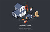 Vector Illustration, Relocation Services Concept. Isometric 3D Composition, Cartoon Style. Suburban Apartment, Four Characters. Team In Uniform Loading Truck With Cardboard Boxes. Dark Background