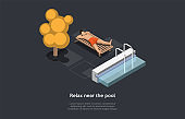 Relax Near Pool Concept Design. Isometric Composition, Cartoon 3D Style. Vector Illustration With Character. Man Lying On Sunbed, Basin, Trees, Infographic Design Elements Around. Alone Relaxing Time