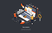 Illustration On Dark Background. Data Analytics, Info Checkup Concept. Isometric Vector Composition In Cartoon 3D Style With Objects And Text. People Standing Near Laptop With Charts And Diagrams
