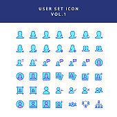 user filled outline icon set vol1