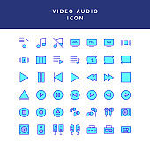 photo video filled outline icon set vol2