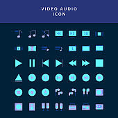 photo video  flat style design icon set vol2