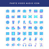 photo video filled outline icon set vol1