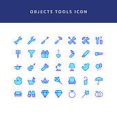 object tool filled outline icon set