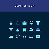 Clothes flat style design icon set