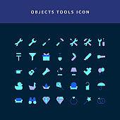 object tool flat style design icon set