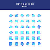 Cloud computing network filled outline icon set vol1